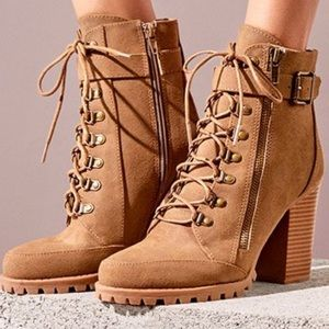 Taupe Chunky Heel Combat Boots
